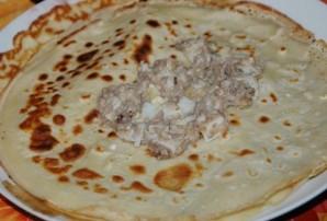 Блинчики с ливерной колбасой - фото шаг 6