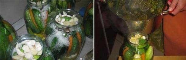 Патиссоны, консервированные с огурцами - фото шаг 3