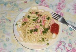 Cпагетти с колбасой - фото шаг 5