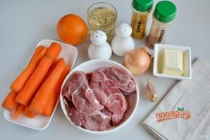 Говядина, томленная с морковью в винном соусе - фото шаг 1