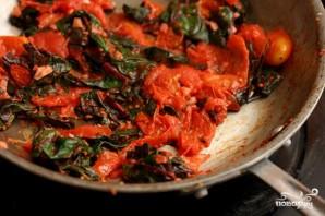 Паста с мангольдом, помидорами и сыром - фото шаг 3
