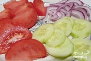 Греческий салат с пастой - фото шаг 2