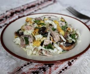 Салат мясной с грибами - фото шаг 4