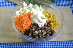Салат с корейской морковкой и грибами - фото шаг 4