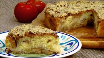 Яблочный пирог с сахарно-ореховой глазурью - фото шаг 5
