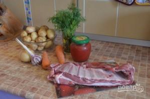 Свиные ребрышки с картошкой в казане - фото шаг 1