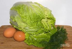 Салат с пекинской капустой и яйцами - фото шаг 1