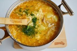 Грибной суп с рисом и яйцом - фото шаг 10