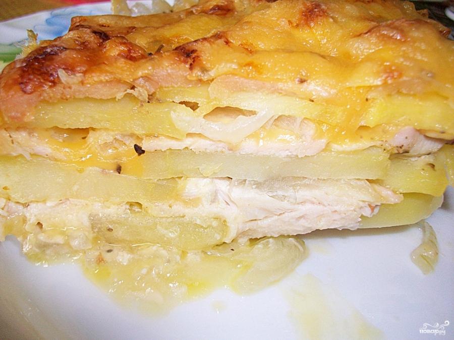 мясо с картошкой с сыром в духовке слоями рецепт с фото