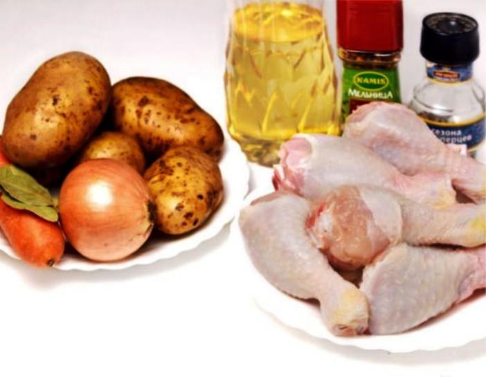 Рецепт Курица с овощами на пару в мультиварке