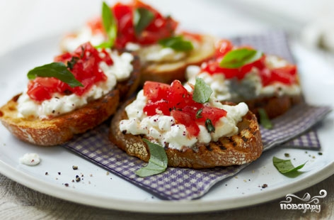 Рецепт Творог с помидорами и зеленью