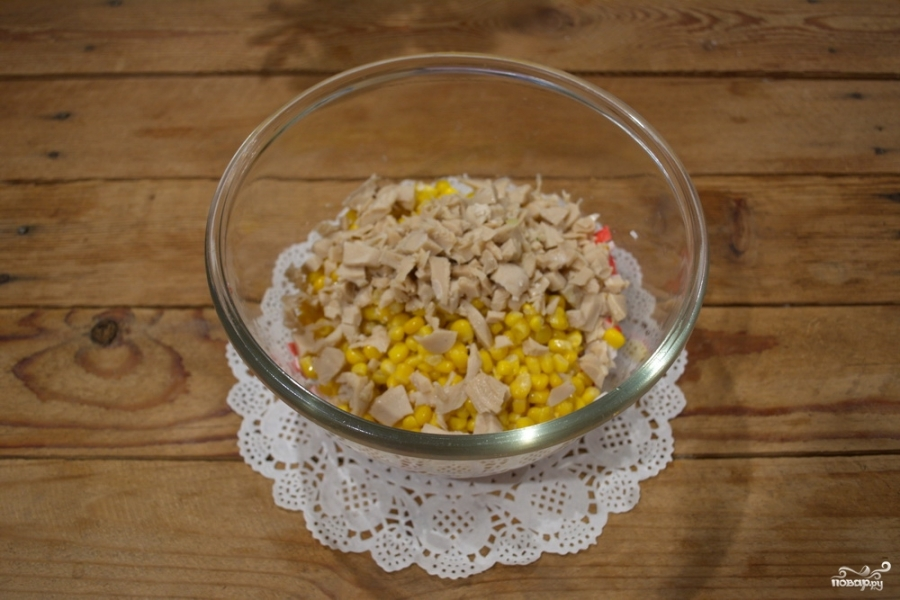 Кальмаровый салат с крабовыми палочками - фото шаг 3