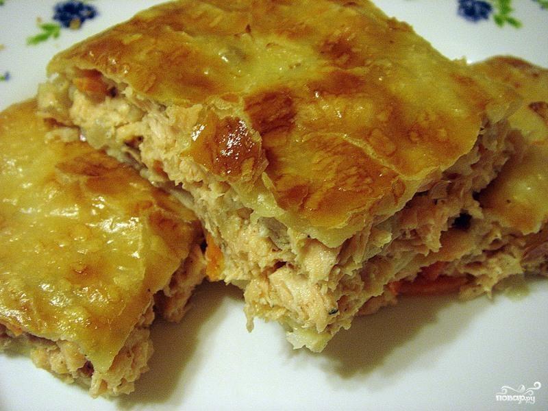 Рецепт Слоеный пирог с курицей и грибами