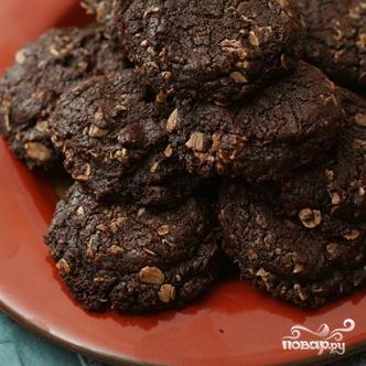 Шоколадное печенье с овсяными хлопьями - фото шаг 4