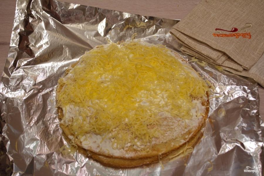 Блинный пирог с фаршем - фото шаг 8