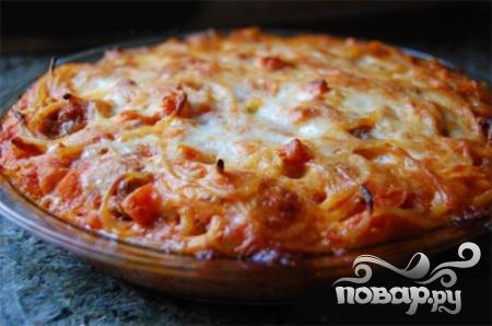 Рецепт Пирог из спагетти, помидоров и говядины