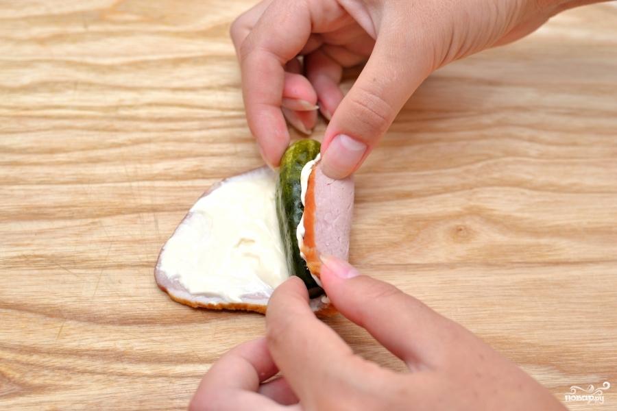 Холодная закуска из ветчины - фото шаг 3