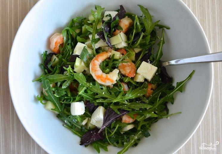 Салат рукола с креветками рецепт с фото