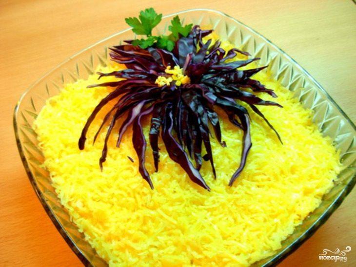 Рецепт салата из тунца консервированного слоями