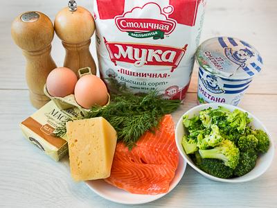 Рецепт Пирог с рыбой и брокколи