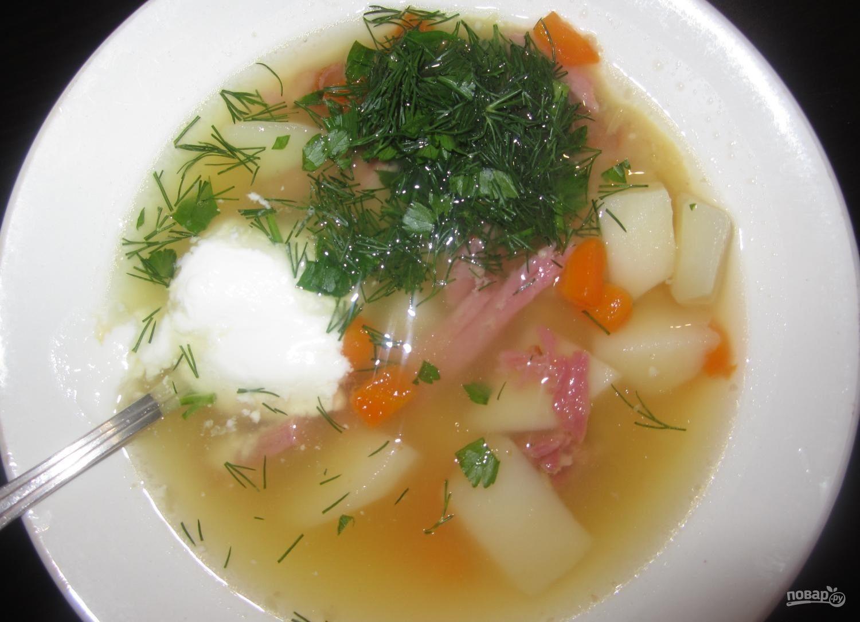 Суп на копченых ребрышках