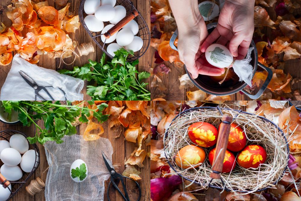 Крашеные яйца (луковой шелухой, коричневые)