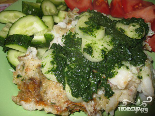 Рецепт Запеченная камбала со шпинатом и луком
