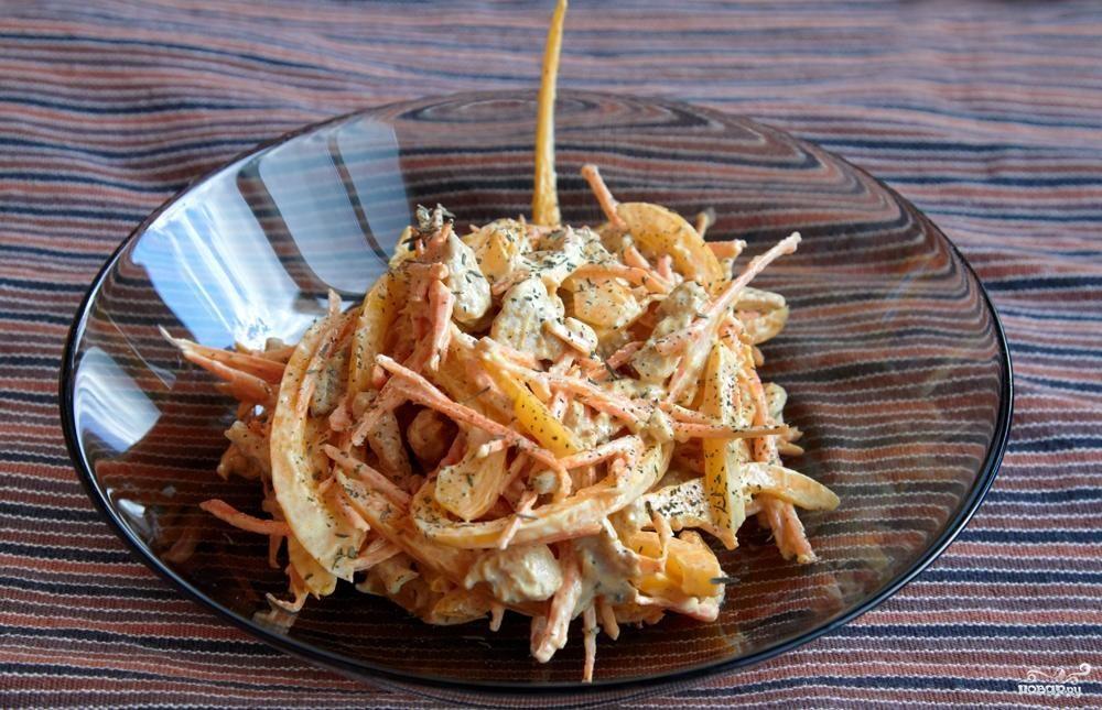 Салат болгарский рецепт с курицей морковью и перцем