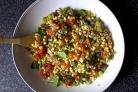 Салат из фасоли, кукурузы и бекона