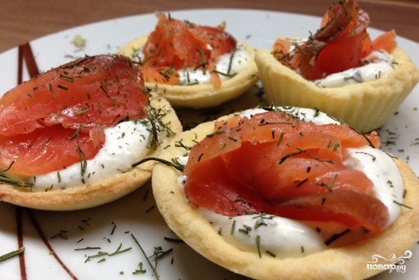 Салаты в тарталетках с красной рыбой рецепты