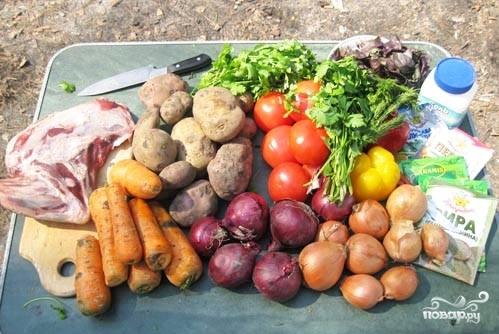 Рецепт Шурпа из баранины на костре