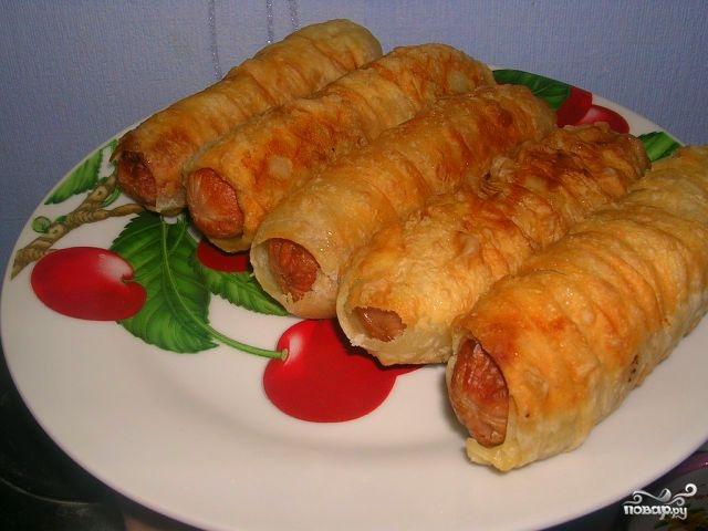 Рецепт Сосиски в слоеном тесте жареные