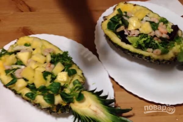 Пошаговый рецепт салата с креветками и кальмарами 37