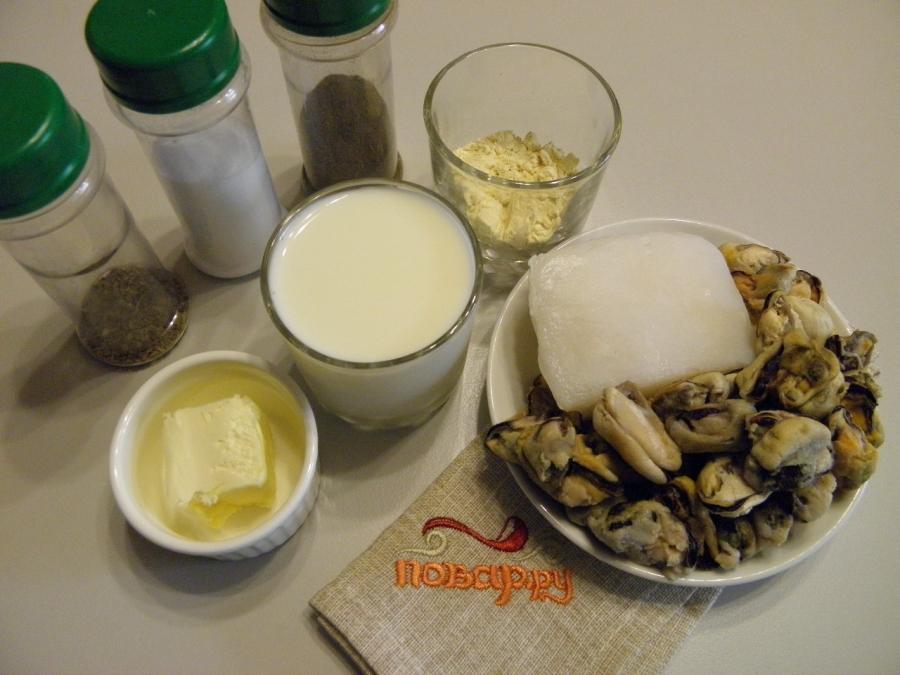 Морепродукты в сливочном соусе - фото шаг 1