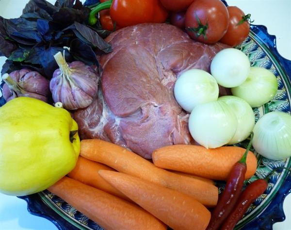 Рецепт Говядина с овощами в казане