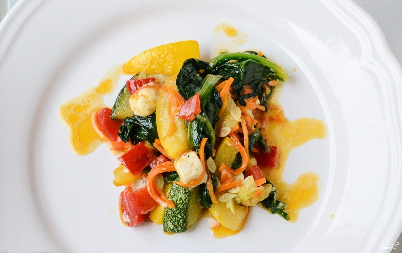 Овощное рагу со шпинатом