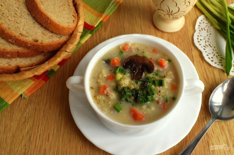 Пшенный суп с грибами