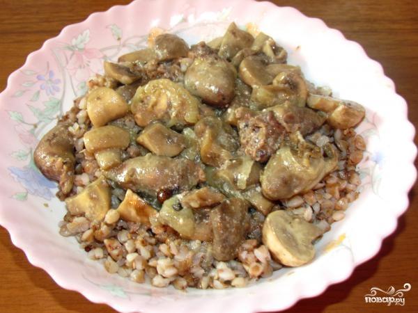 Рецепт Куриные сердечки с грибами в мультиварке