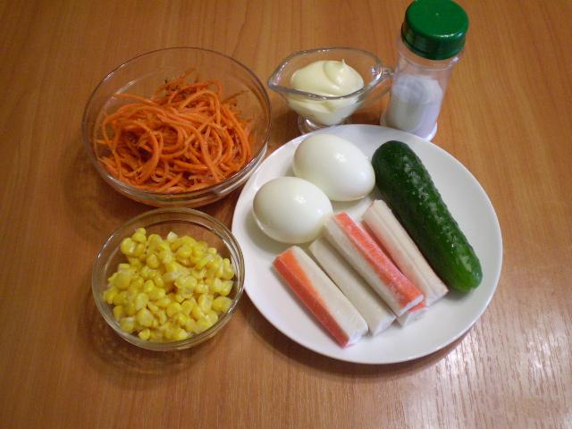 Салат с корейской морковкой и крабовыми палочками - фото шаг 1