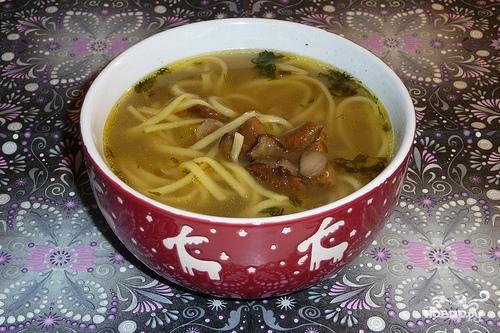 Рецепт Суп-лапша домашняя на грибном бульоне