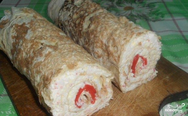 Рулет из лаваша с крабовым мясом - фото шаг 6