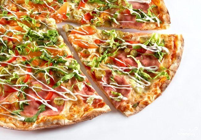 Рецепт Пицца с капустой и колбасой