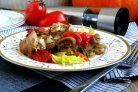 Рагу из маринованного кролика с овощами и грибами