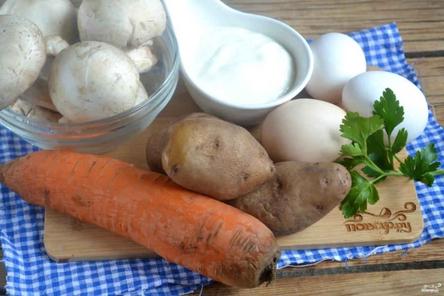 Вегетарианский салат с шампиньонами - фото шаг 1