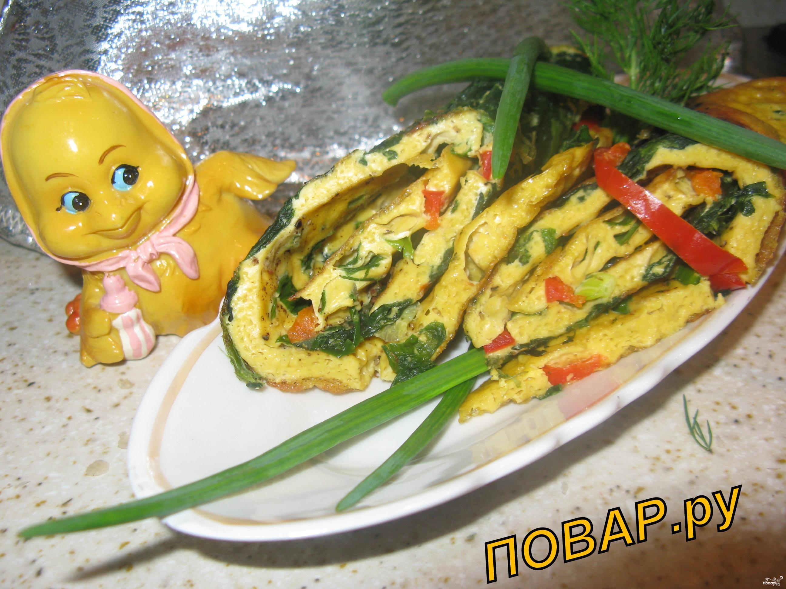 Рецепт Омлетный рулет со шпинатом, зеленью и сладким перчиком