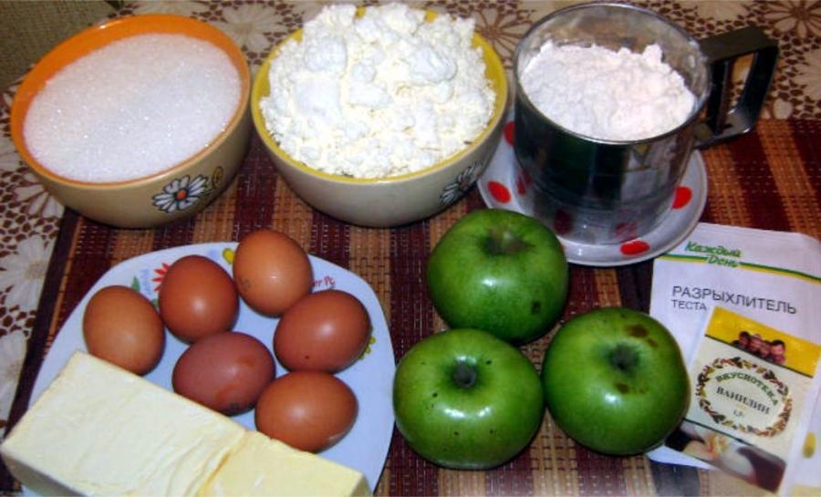Пирог с яблоками и творогом - фото шаг 1