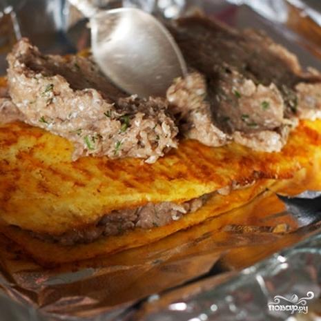 Слоеный сырный пирог с куриным фаршем - фото шаг 7