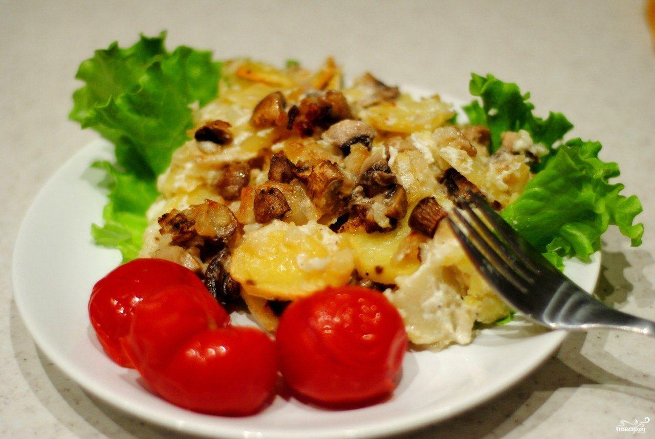 грибы в духовке рецепт шампиньоны в сметане на