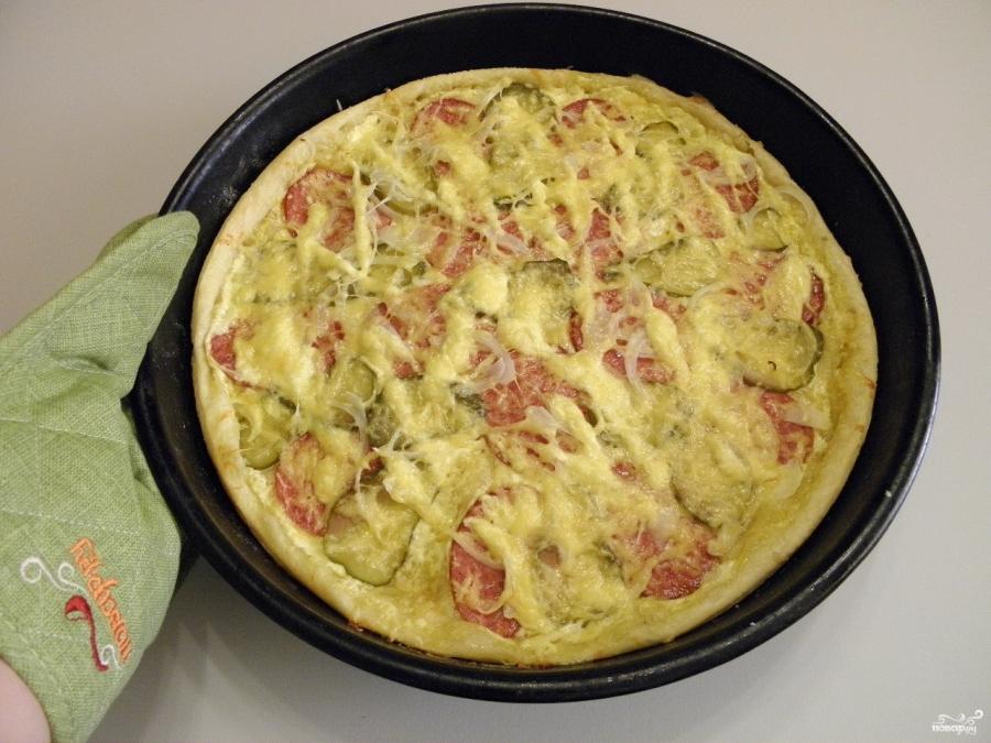 Пицца из слоеного дрожжевого теста - фото шаг 10