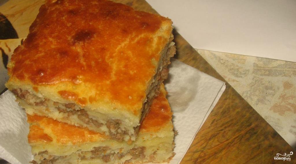 Пирог с фаршем на кефире